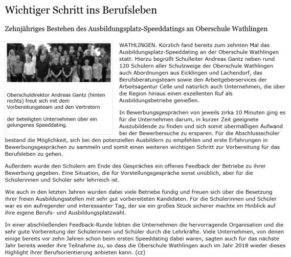 Oberschule Wathlingen - Presse